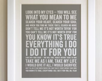 FRAMED Lyrics Print - Bryan Adams, Everything I Do - 20 Colours options, Black/White Frame, Wedding, Anniversary, Valentines, Picture Gift