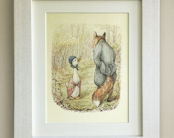 "FRAMED Beatrix Potter Print, New Baby/Birth, Nursery Picture Gift, 3 Frame Options, Lovely Birth/Christening Gift, 10""x8"", Jemima Puddleduck"