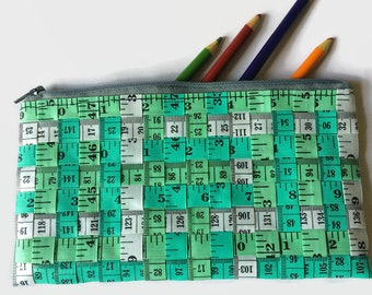 Green, Grey and Turquoise Tape Measure Pencil Case, Back to School Gift, Sewing Storage
