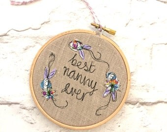 Best Nanny ever decorative hanging hoop
