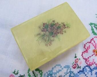 Box - Alabaster - Trinket Box - Violets - Vintage