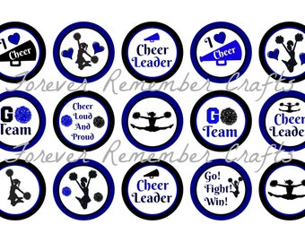 INSTANT DOWNLOAD Cheer Leader Bottle Cap Image Sheets *Digital Image* 4x6 Sheet With 15 Images