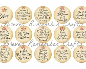 INSTANT DOWNLOAD Sisters Quotes & Sayings  1 Inch Bottle Cap Image Sheets *Digital Image* 4x6 Sheet With 15 Images