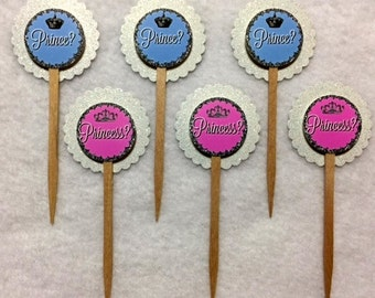 Set Of 12 Baby Shower Gender Reveal Prince or Princess Cupcake Toppers (Your Choice of 12)