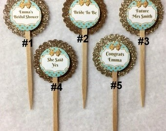 Set Of 12 Bridal Shower Teal & Gold Cupcake Toppers (Your Choice Of Any 12)