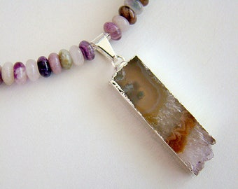Amethyst Rainbow Necklace, Amethyst Geode Slice Pendant, Colorful Fluorite Bead Necklace, Amethyst and Fluorite Silver Necklace