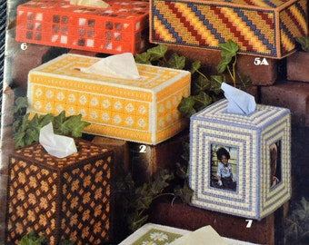 "Needlepoint ""Tissue Box Covers for Plastic Canvas""  Leisure Arts Leaflet 199 Needlepoint Pattern Fiber Art"