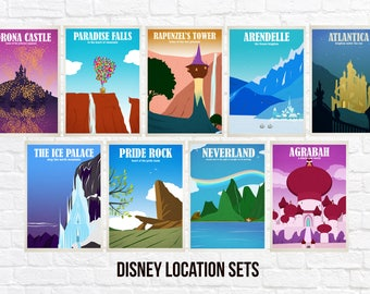Disney Travel Poster Sets - Choose from 2 to all 9 Prints -  Wall Art Poster Print (Available In Many Sizes)