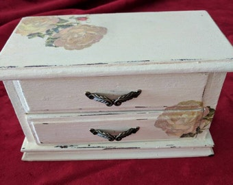 Small vintage jewelry box. Upcycled painted with yellow roses.    Item #216171