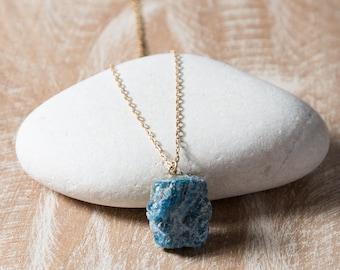 Apatite Necklace/Raw Apatite Necklace/Rough Apatite Necklace/Natural Apatite Stone Necklace/June Birthstone