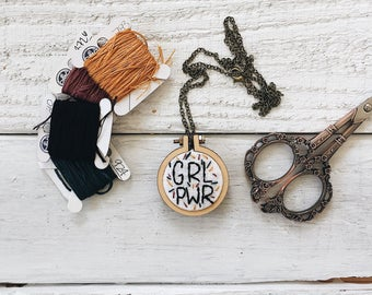 GRL PWR Embroidery Necklace // Embroidery Necklace // Feminist Embroidery // Girl Power Embroidery // Embroidery Necklace //