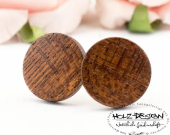 Ø11mm wooden post studs earrings thin wood ear studs round earrings organic eco friendly handcrafted