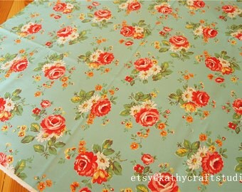 Half yard--Sewing lightweight cotton canvas fabric--vintage large scale flower