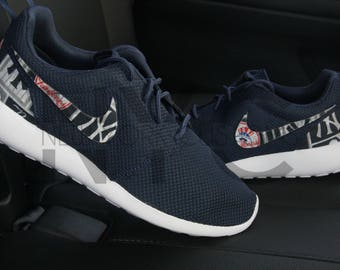 New York Yankees Nike Roshe Run Navy White Custom Men & Youth