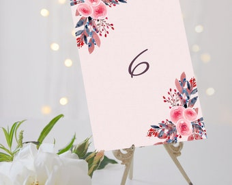 Peony Wedding Table Numbers // Peony Table Numbers // Peony Wedding // Floral Wedding // Elm Park Collection // Elle Bee Design