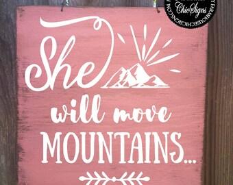 she will move mountains, girls room, girls room decor, girls room art, girls room sign, girls room wall decor, girls room gift, 325