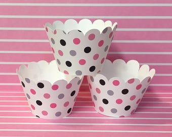 Cupcake Wrappers Pink, Black, Grey Polka Dot print for Baby Showers, Bachelorette Parties, Weddings, Birthday Parties, Girl's Night Out