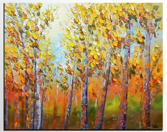 Autumn Forest Tree Painting, Abstract Canvas Art, Large Wall Painting, Oil Painting, Abstract Art, Bedroom Wall Art, Landscape Oil Painting