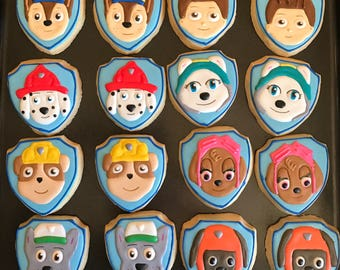 12  PAW PATROL inspired vanilla sugar cookies - custom decorated - birthday party - puppy cookies - firefighter - boy girl party -