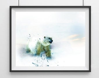 Polar bear art print- Watercolor- Polar bear art - modern