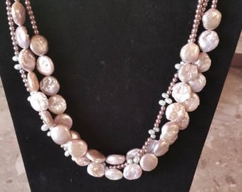 Pink Pearl Three Strand Necklace