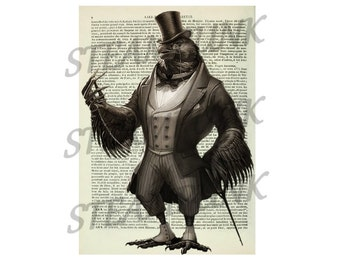 STEAMPUNK Raven - art print - painting - wall decor