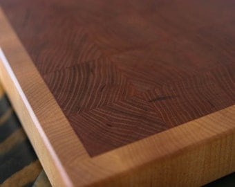 End Grain Cutting Board, chopping block, Cherry framed with Maple