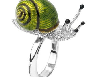 Snail Ring in Silver and Enamel by Deakin and Francis