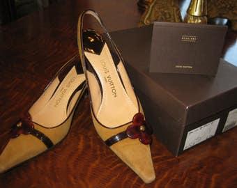Authentic Louis Vuitton Pumps Suede Cognac Brown Size 37 1/2 Italy