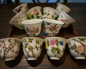 Set Chinese Tea cup vintage hand painted