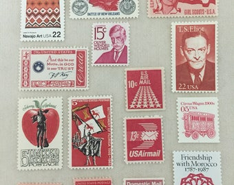 SALE 15 vintage red theme US postage stamps - air mail Girl Scouts Florida - unused