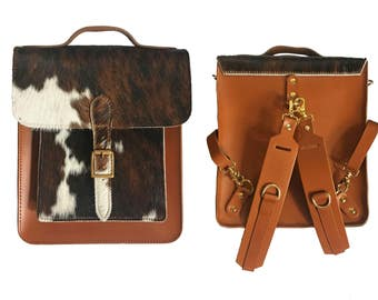 Leather Back pack W/ Detachable Strap - Handmade In UK - Back to School - Cowhide Back pack - Satchel - Rucksack - Handmade Back pack