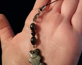 Hematite heart and teddy bear phone bag charm