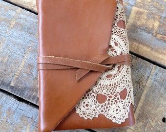 Jersey Caramel: Leather journal, handmade