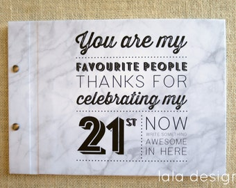 21st Birthday Typo Graphic Marble | Custom Made Guestbook | Birthdays | Milestone Birthdays | Parties | Celebrations