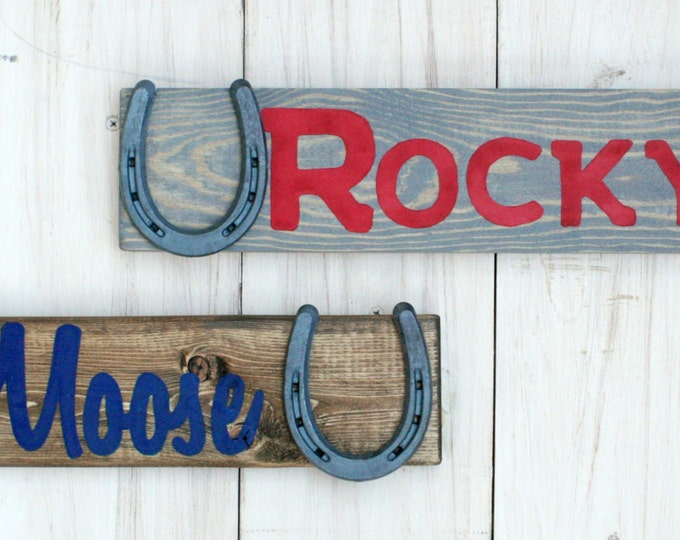 Two Custom Personalized Barn Signs - Design Your Own Personalized Horse Name Sign - Stable sign, rustic horse decor, horseshoe, TDD22-2