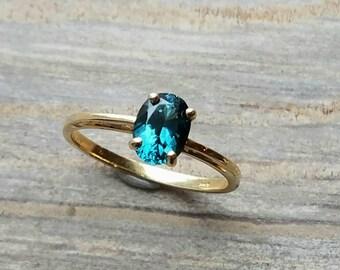 Blue tourmaline 14k yellow gold ring, Brazilian blue tourmaline solitare ring.