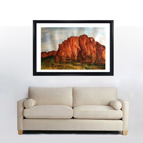 Southwestern decor landscape original watercolor painting for Southwestern decor