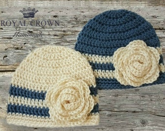 Twin Newborn Hats,Newborn Hat,Newborn Girl Hat,Newborn Twins,Newborn Twin Hats,Newborn Photo Prop,Baby Twins,Baby Twin Gifts,Cream,Blue