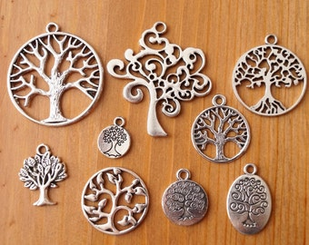 10x Mixed Designs Tibetan Silver Tree of Life Family Tree Charms Pendants (TSC54)