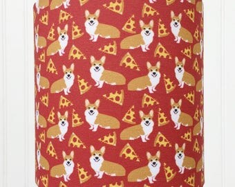 CORGI Small DRUM LAMPSHADE dog lover with Pizza for your Table Lamp Shade in Red Tan and White
