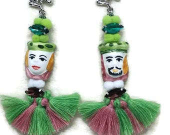 Earrings Sicilian puppet Mori tradition ceramics Caltagironest Patrick's Day, Lucky