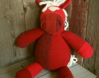 Handmade Stuffed Horse, made from recycled wool sweaters