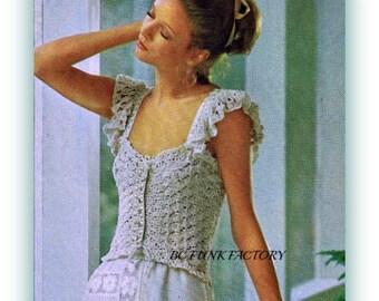 Camisole Crochet Pattern Women's Peplum Camisole Vintage 1970's Digital Crochet Pattern