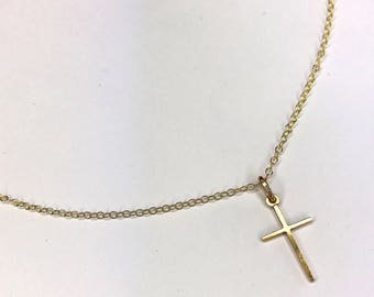 Vintage 9ct Yellow Gold Delicate Cross Necklace