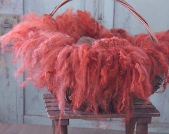 "felted sheep wool hair band Newbornfoto ""coral"""