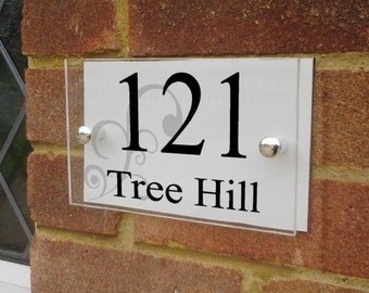 Modern glass effect acrylic & aluminium house sign plaque door number