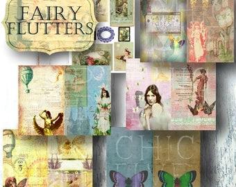 Vintage  Fairy Journal  Fantasy  scrapbook paper  mythical  Fae Smashbook  Fairy papers  junk journal kit  digital journal kits