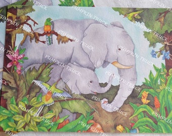 Vintage Stationery - Elephant and Calf Watercolor Print - 3 Note Cards
