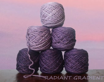 RADIANT GRADIENT DK Yarn Set. 150g Merino Silk super soft and springy. Expertly hand dyed for beautiful ombre coloring by Living Dreams Yarn